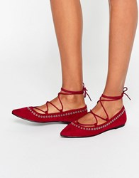 Asos Lois Lace Up Pointed Ballet Flats Burgundy Red