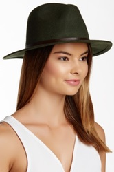 David And Young Pebble Faux Leather Band Panama Hat Green