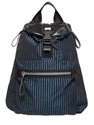 Lanvin Striped Nylon And Leather Backpack