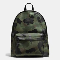 Coach Campus Backpack In Printed Pebble Leather Black Military Wild Beast