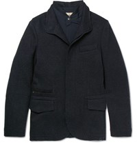 Loro Piana Cahmere Blend Jacket With Removable Hell Jacket Torm Blue Storm Blue