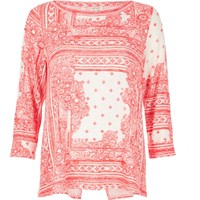 River Island Womens Red Print Wrap Back Top