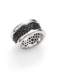 Stephen Webster Sterling Silver And Black Sapphire Ring