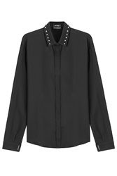 Anthony Vaccarello Wool Shirt With Studs Black