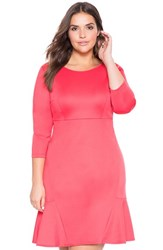Plus Size Women's Eloquii Ruffle Hem Scuba Knit Dress Deep Orchid