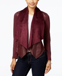 Kut From The Kloth Faux Leather Trim Draped Jacket Bordeaux