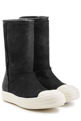 Rick Owens Shearling Lined Ankle Boots Black
