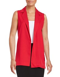 Design Lab Lord And Taylor Open Front Vest Red