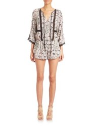 Twelfth St. By Cynthia Vincent Lace Inset Short Jumpsuit