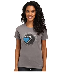 Life Is Good Spread Vibes Heart Crusher Tee Slate Gray Women's T Shirt