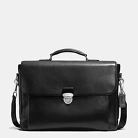 Coach Metropolitan Briefcase In Sport Calf Leather Silver Black