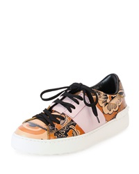 Valentino Printed Leather Open Laced Low Top Sneaker Black Pattern