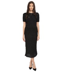 Zac Posen Silk Crochet Short Sleeve Dress Liquorice