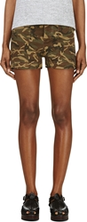 Nlst Green And Brown Camouflage Utility Shorts