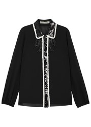 Alice Olivia Gigi Sequin Embellished Silk Chiffon Blouse Black And White