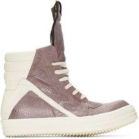 Rick Owens Grey Lizard Geobasket High Top Sneakers