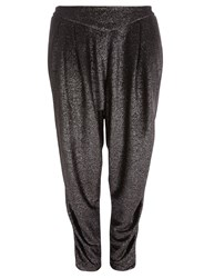 Evans Silver Glitter Tapered Trousers Metallic