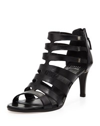 Stuart Weitzman Outbound Strappy Leather Mid Heel Sandal Black