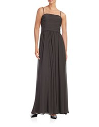 Vera Wang Strapless Ruched Gown Smoke