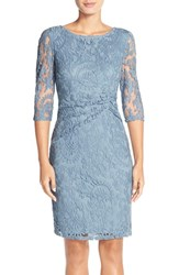 Adrianna Papell Women's Ruched Lace Sheath Dress Dusty Blue