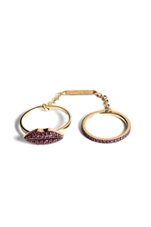 Delfina Delettrez 18Kt Gold Double Ring With Ruby Lips And Band