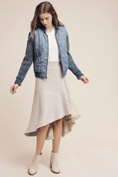 Anthropologie Quilted Chambray Bomber Denim Light