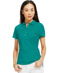 Tommy Hilfiger Solid Polo Top Deep Peacock