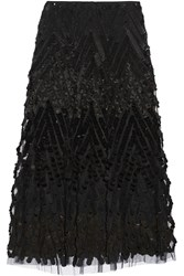 Donna Karan Embellished Tulle Midi Skirt Black