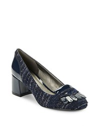 Bandolino Odonna Suede And Patent Heels Navy Blue