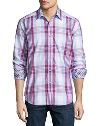 Robert Graham Gillock Long Sleeve Plaid Sport Shirt Berry Pink