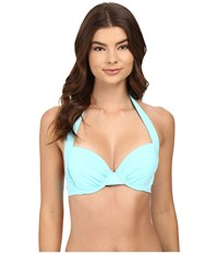 Tommy Bahama Pearl Underwire Full Coverage Cup Bra Top Swimming Pool Blue Women's Swimwear