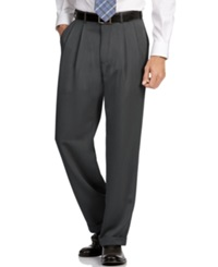 Perry Ellis Portfolio Big And Tall Double Pleat Melange Microfiber Dress Pants Charcoal