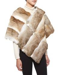 Adrienne Landau Goma Rabbit Fur Poncho Natural