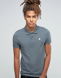 Asos Pique Polo With Embroidery In Murky Murky Blue