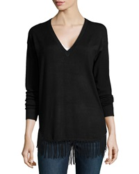 Neiman Marcus V Neck Fringe Trimmed Knit Sweater Black