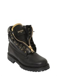 Balmain 20Mm Taiga Leather Boots
