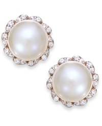 Macy's Cultured Freshwater Pearl 7Mm And Diamond 1 8 Ct. T.W. Earrings In 14K Gold Black