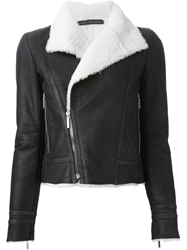 Anthony Vaccarello Shearling Biker Jacket Black