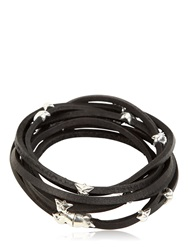 Tomasz Donocik Sterling Stars And Leather Wrap Bracelet Silver