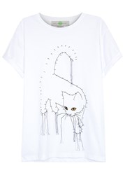 Stella Mccartney White Cat Print Cotton T Shirt