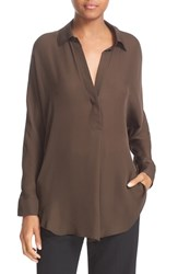 Vince Women's Shirred Back Yoke Silk Tunic Shirt Caper