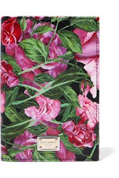 Dolce And Gabbana Printed Textured Leather Passport Cover Pink