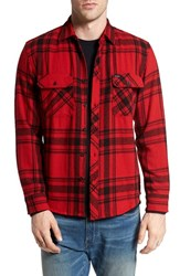 Brixton Men's 'Bowery' Twill Flannel Shirt Red Black