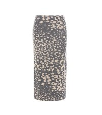 By Malene Birger Opunia Printed Knitted Wool Blend Skirt Grey