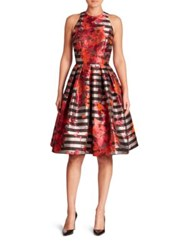 Carmen Marc Valvo Floral And Striped Fit And Flare Dress Multicolor