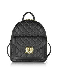 Love Moschino Heart Quilted Eco Leather Small Backpack Black