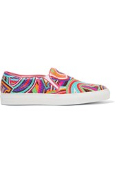 Emilio Pucci Quilted Printed Leather Slip On Sneakers Pink