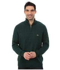 Lacoste Cable 1 4 Zip Cotton Sweater Evergreen Men's Sweater