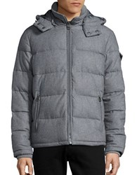 Guess Wool Blend Puffer Jacket Light Grey