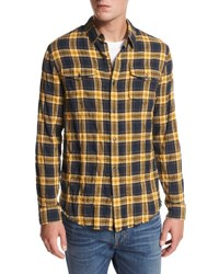 Vince Frayed Edge Plaid Western Shirt Blue Yellow Blue Yellow